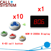Restaurant Wireless Service Call Waiter System Wireless Electronic Voice Durable Pager( 1 display+10 call button )
