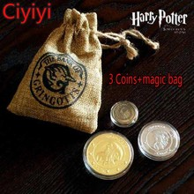 Harry Potter Gringotts Galleons Sickels Knut Cosplay Coin & Magic Bag Toy Cartoon Harry Potter Magic World Juguetes Kids Gift(China)
