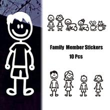 10pcs Mini cartoon Family Member Wall sticker Black White Color PVC Decal Waterproof Car window DIY Stickers Decor figure 4(China)