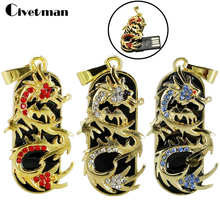 Fashion Jewelry Dragon USB Flash Drive 8GB 16GB 32GB USB Stick 2.0 Memory Stick Pendriver Pen Drive Mini Usb Necklace