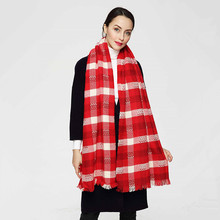 High Quality New Fashion Women Red Mix White Color Thick Winter Scarf Long Shawl Euro Designer Scarves PJ045