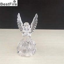 Bestfire Nightlight Acrylic angel 7 color led light of the night light transparent flash Table angel light(China)