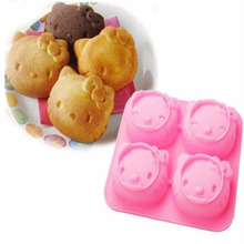 4 Even Facial Expressions KT Hello Kitty Cake Cadillac Owl Kitchen Baking Chocolate Mold Silicone Mold