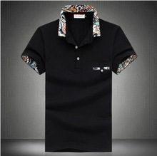 Summer Polo Homme men's short-sleeve floral lapel cotton polo mens solid breathable polo shirts Casual Style Polos Plus size 5XL