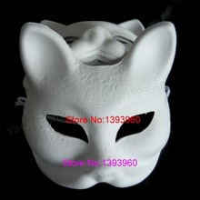 Cat Hand-painted White DIY mask with Elastic Band paper pulp masks Blank DIY Mask for Party/Festival/Game/Painting Exercise(China)