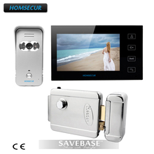 "HOMSECUR Video Intercom Security System 7"" Color Monitor 700TVL Wide Angle Camera E-lock(China)"