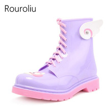 Rouroliu PVC Lace-up Ankle Rain Boots Women Cartoon Candy Colors Flat Heels Rainboots Water Shoes Woman Wellies ZJ68(China)
