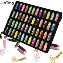 JinTing 48 Bottles/Lot DIY Nail Art Charms Kit Contain Random Nail Art Pearl Sequin Glitter Powder Acrylic Rhinestone(China)