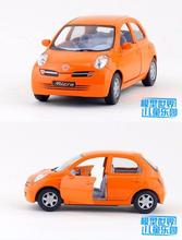 Candice guo alloy car model mini little Nissan micra plastic motor pull back collection children toy kid birthday christmas gift(China)