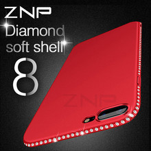 ZNP Luxury Rhinestone Silicone Case For iPhone X 10 8 7 6 6S Plus Case Glitter Matte Diamond Phone Cover For iPhone 6 7 8 X Case(China)