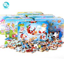 60pcs Cartoon Wooden jigsaw Puzzle toys for children Baby early Educational wooden Puzzles toy iron box game for kids(China)
