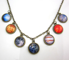 1 Pc New Design Solar System Necklace, Planet Universe Galaxy Necklace, Antique Brass Pendant, Glass Dome Necklace