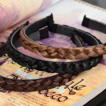 1pc Women Wig Braid Hair Bands Charming Girls Hair Jewelry Accessories Plait Hair Clasp Light Brown Black Color 1.3cm
