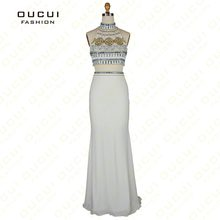 Real Photo Jersey Fabric two-piece Beading hand work Formal Long Evening  Dress OL102474 ac3852b864f5
