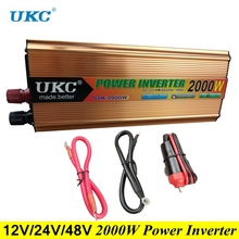 UKC Peak Power 2000W Modified Sine Wave Inverter DC 12V/24V to AC 220V 2000W Inverter Converter Power Inverter Charger with USB