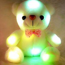 Kids Favorites!New Arrival 20cm Lovely Soft LED Colorful Glowing Teddy Bear Stuffed Plush Toy Gifts For Christmas Birthday