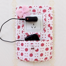 1 pcs cloth switch stickers pastoral pocket with decorative cover creative cell phone charging socket holder protection