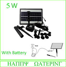5W Solar Powered Pond Pool Water Pump Battery Control + LED Solar Submersible Fountain Pump