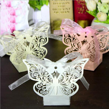 10Pcs/set Butterfly Laser Cut Hollow Carriage Favors Box Gifts Candy Boxes With Ribbon Baby Shower Wedding Event Party Supplies