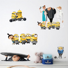 % 3D Cartoon Movie Sewer Minions Wall Stickers Kids Rooms living room Children Computer Car Decor Decals Poster Gift wallpaper(China)