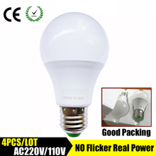 4PCS/LOT LED Bulb E27 LED Lamps B22  110V 220V Light  Bulb Smart IC Real Power 3W 5W 7W 9W 12W 15W High Brightness Lampada LED