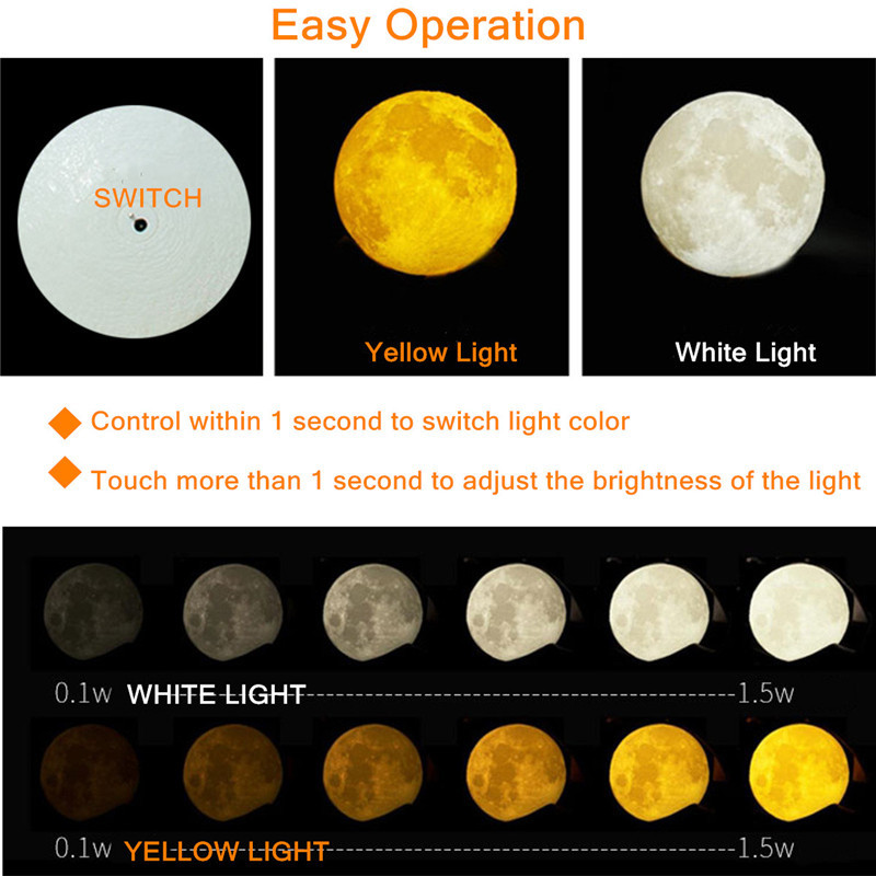 Chiclits LED Moon Lamp 3D USB Magical Moon Night Light 10CM Table Touch Sensor Color Changing Home Bedroom Decoraction Child Kid Girl Gift (3)