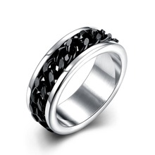 New Cool Style Jewelry Black Chain Titanium Steel Black Gun Plated Party Ring Design for Men Offer Wholesale Free Shipping