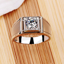 Men's White Gold Au750 Fine Jewelry Ring 0.5CT Simulate Diamond Male Wedding Ring Promise Love Pure 18K White Gold  Ring