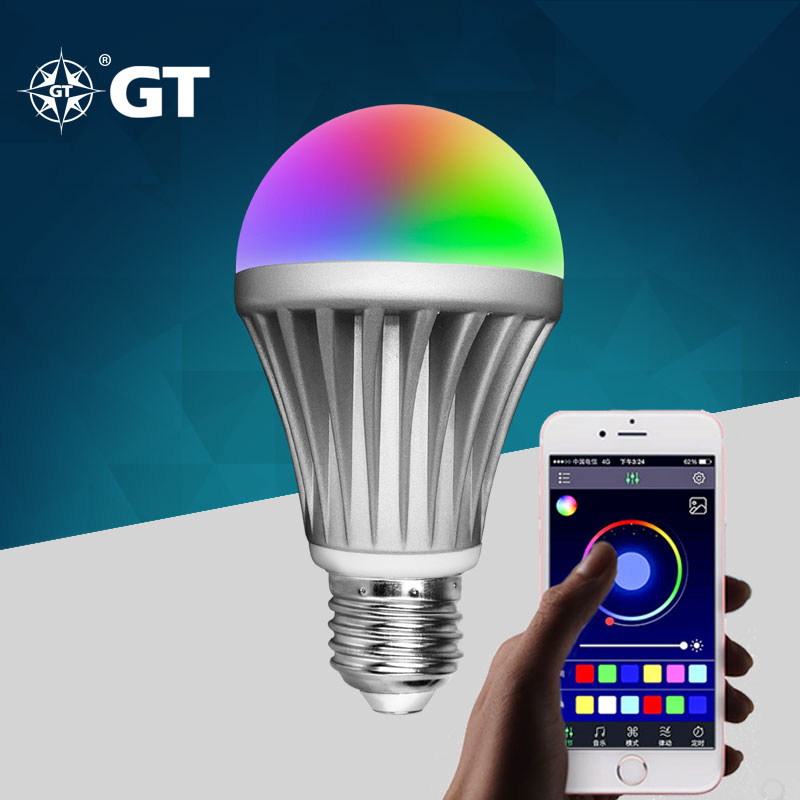 GT-Lite LED Smart Bulb 220V 230V E27 110V E26 8W 2835chips Android IOS RGB Colors Intelligent lamp Bluetooth Music Light  GTSB<br><br>Aliexpress