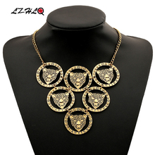 LZHLQ Vintage Multilayer Leopard Necklace Trendy Metal Brand Geometric Round Circle Pendant Necklace Fashion Jewelry Accessories