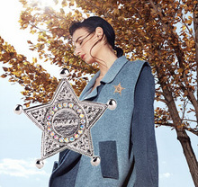 Hot Fashion 2 color five - pointed star men Alloy Pins Women Shawl Scarf Buckle brooch gift jewelry Wholesale H1088