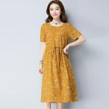 NEW women casual print Daisy dress,plus size Party Dresses Vestidos Women Vintage Elegant cotton linen Dresses(China)