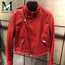 Buy Genuine Leather Sheepskin Jacket Women Spring Autumn Rivet Real Leather Coat Fashion Bright Color Single Leather Jacket Female for $243.93 in AliExpress store