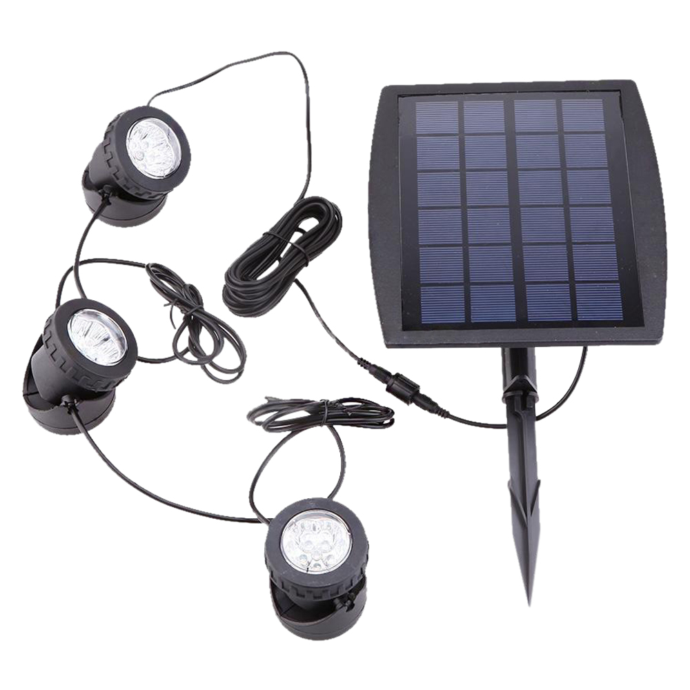 DSHA New Hot Outdoor Solar Powered LED 3 RGB Spotlight Garden Pool Pond Yard Colorful Light<br><br>Aliexpress