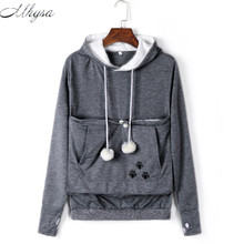 Mhysa Cat Lovers Hoodies With Cuddle Pouch Dog Pet Hoodies For Casual Kangaroo Pullovers With Ears Sweatshirt Drop Shipping 020(China)