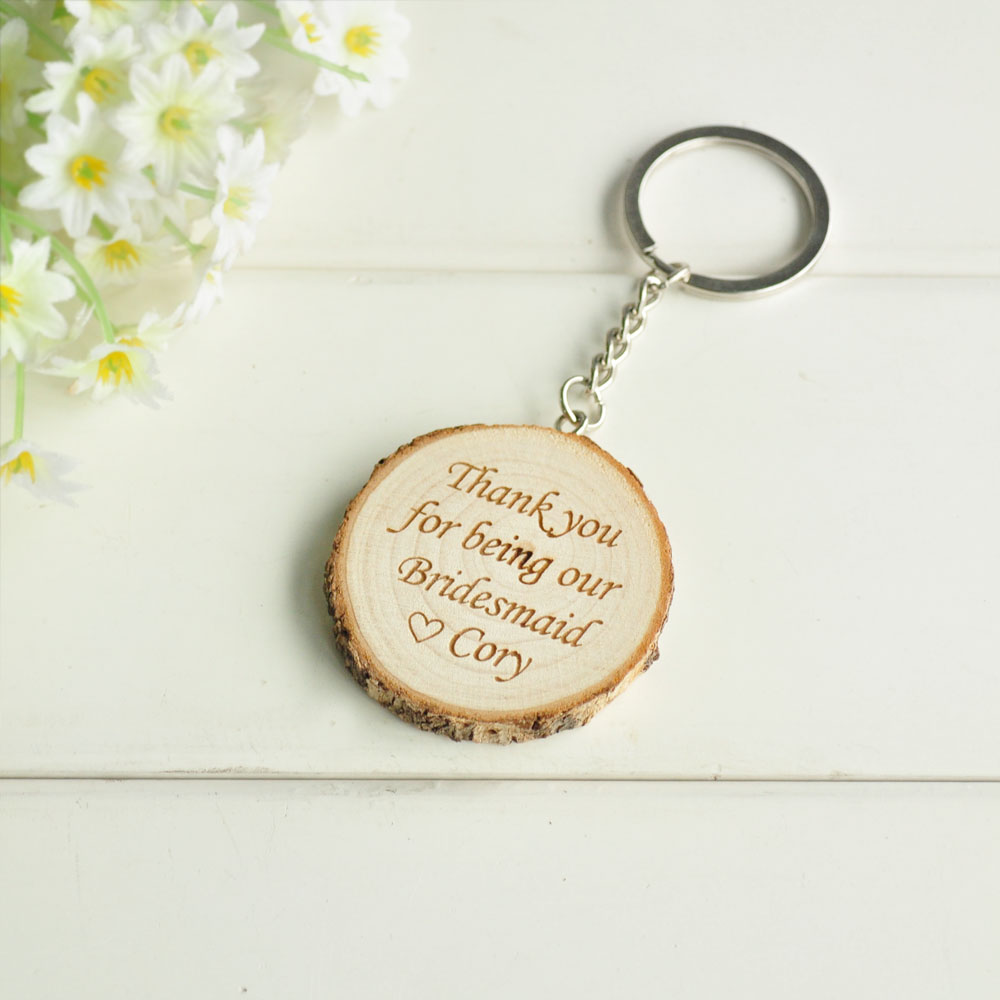 Personalised Wooden Engraved Keyring Keychain Key Fob Friend Birthday Gift