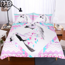 DHD Unicorn Bedding Set Queen Size Duvet Cover with Pillow Case Bedclothes Bed Linen Colored Duvet Cover Printed Quilt Cover(China)