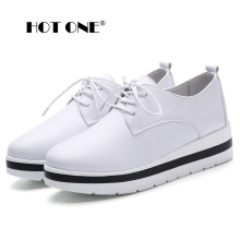 Women Wedges shoes Pumps 2016 New Fashion Leather Casual Platform Woman Shoes for Ladies Lace Up White Shoes Women 77408