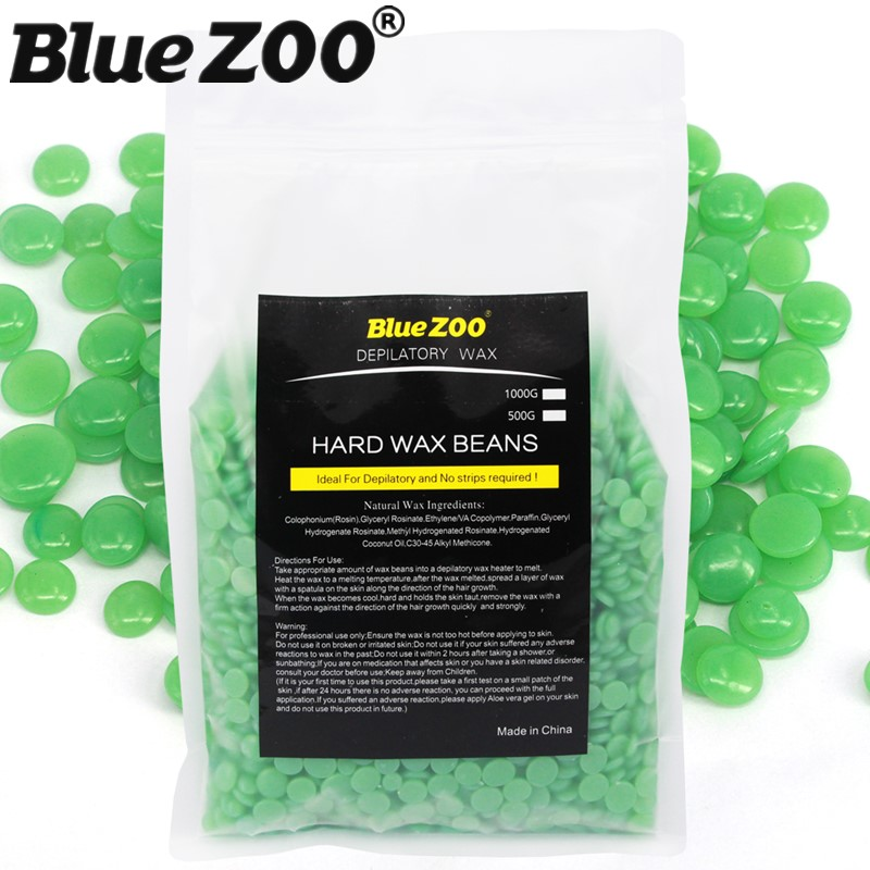 No Strips Depilatory Hard Wax Beans Pellet Beauty Facial Hair Remover Waxing Bikini Wax Beads Green Tea 1000g/bag<br>
