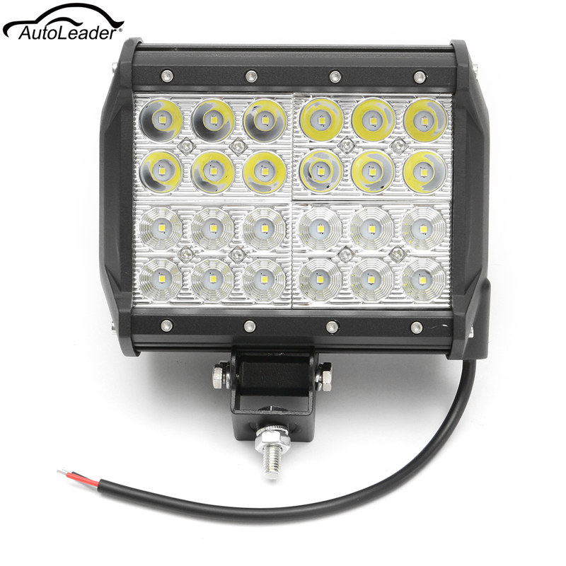 7 4 Row 72W Spot Flood Combo Square LED  Driving Light Work Light Bar DRL Fog Offroad Truck<br>