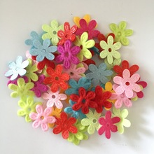 100pcs Random mixed Padded Felt Spring Flower Appliques Craft DIY Wedding decoration A29A