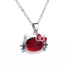 2016 New Fashion Love Heart Pendant Red Cute hello Kitty Girl Necklaces,gift for Girl friend