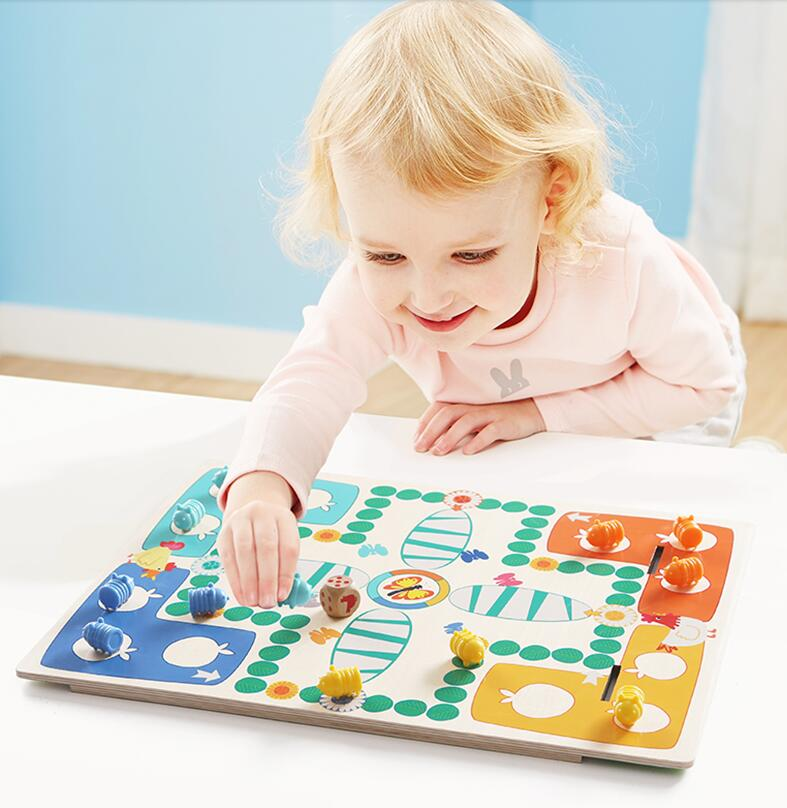 MamimamiHome Baby Toys Caterpillars Flying Chess Children Dice Game Two-sided Chessboard Montessori Toys Building Blocks<br>