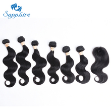 Sapphire Virgin Malaysian Body Wave Virgin Hair Bundles With Closure Human Hair Weaves 6 Bundles With Lace Closure Free Shipping(China)