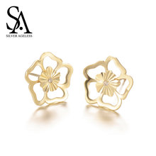 SILVER AGELESS 9K Yellow Gold Peach Blossom Stud Earrings for Women Fine Jewelry 2017 New Arrival