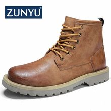 ZUNYU New Men's Boots) 가 겨울 Ankle Boots 2018 Fashion 신발쏙 ~ Lace 업 Shoes Men (High) 저 (Quality Vintage Men casual Shoes(China)