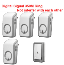 digital signal bell w/ 1 emitter+4 receivers wireless doorbell Waterproof 380 Meter door chime 48 melodies door ring waterproof