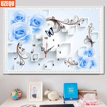 UzeQu DIY Wall Clock Diamond Painting Cross Stitch European Blue Rose Diamond Mosaic Rhinestones Watch Full Dimaond Embroidery
