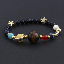 MKENDN Wholesale the Eight Planets in the Solar System Guardian Star Universe Galaxy Natural Stone Beads Bracelet for Couple(China)