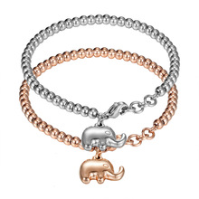 High Quality Silver Rose Plated Bling Stainless Steel Women Cute calf Elephant Charm Beads Chain bracelets Buddha beads Bangles(China)